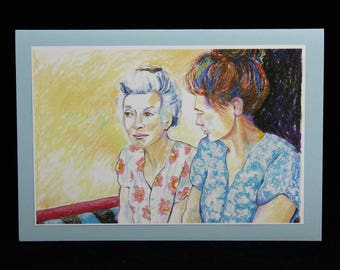 Ladies Conversation, Friendship Art Note Card, Painting by Arizona Artist, Karlene Voepel