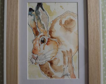 watercolour hare painting