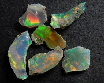 Amazing Quality Natural Ethiopian Opal Lot 6 Piece Welo Fire Opal Rough 5.55ct Amazing Multi Fire Untreated Rough Raw Gemstone RO2