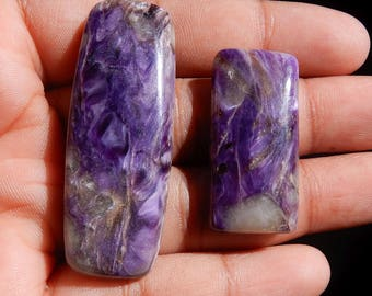 Amazing Quality Natural Charoite Octagon Cabochon 2 Pieces 83.25ct Octagon Shape AAA++ Quality Semi Precious Loose Gemstone MQ4