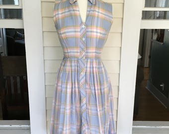 Lovely 1950's Plaid Summer Day Dress-Size Small