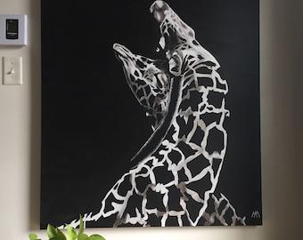 "Giraffe couple, acrylic on canvas, 36 ""x 48"""