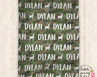 Personalized Deer Hunter Name Blanket - Receiving Blanket Birthday Gift with Deer and Name Print - 30x40, 50x60, 60x80