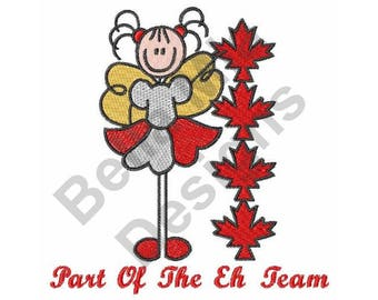 Canadian - Machine Embroidery Design, Canada, Maple Leaf, Fairy, Part of the Eh Team