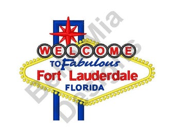 Fort Lauderdale, Florida - Machine Embroidery Design