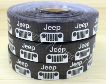 "Jeep 1"" Grosgrain Ribbon by the yard. Choose 3/5/10 yards. Vehicle Make"