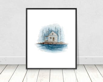 Lake House Satin Matte Poster Art Print of Original Watercolor Painting-Blue Lake House Wall Art and Home Decor-Nature Scenery Poster Print