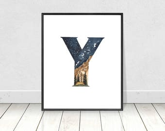 Nursery Monogram Watercolor Alphabet Art Print- Letter Y Camping Landscape Boy's Room Wall Art- Alphabet Letters Nursery Room Decor