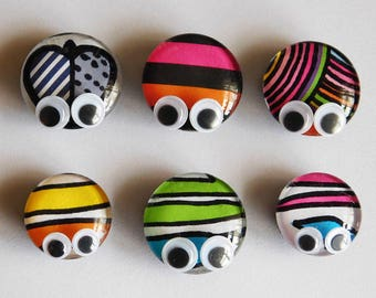 6 Buggy Eye Magnets, Refrigerator Magnets, Fridge Magnets, Decorative Magnets, Glass magnets, Unique Gift, Colorful Magnet, Handmade Magnets