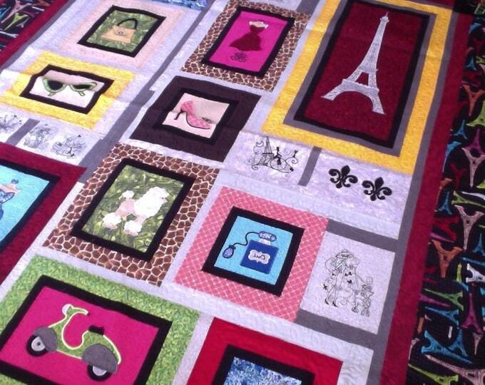 Paris Eiffel Tower Quilt, Paris Applique' Quilt, Girl's Paris Quilt, One-Of-A Kind, Embroidery Paris Quilt, Embroidery Patchwork Paris Quilt