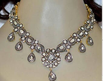 Vintage Look Antique Finish 20. 30cts Rose cut Uncut Polki Diamond Oxidized Sterling Silver designer Choker Necklace