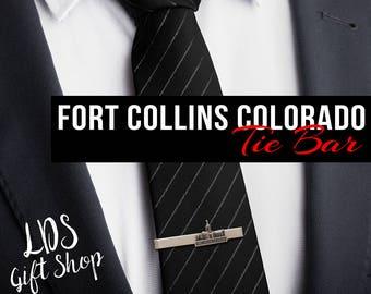 Fort Collins Colorado Temple Silver Tie Bar - LDS Temple