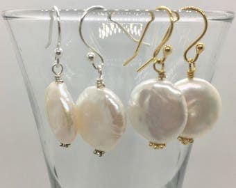 13 mm Freshwater Coin Pearl Earrings