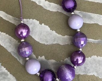 Lavender Fields          Purple - Chunky Bubblegum Bead Necklace