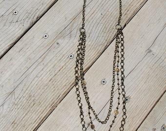 Multi Strand Chain Necklace w/ Quartz Pendant