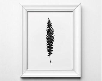 Fern Leaf Illustration, Fern Leaf Wall Art, Modern Fern Art Print, Black and White Plant Art, Printable, Minimalist Decor, Modern Art Print