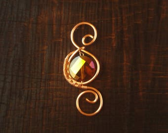 Copper and Glass Wirewrapped Pendant