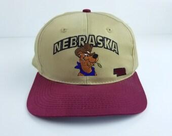 Vintage 90s 1993 Nebraska Cowboy Scooby Doo Baseball Dad Adjustable Embroidered Hat Cap Plum Beige