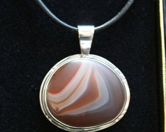 Lake superior agate pendant