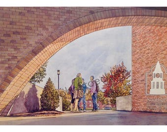 Southern Illinois University School of Law LIMITED EDITION Pen and Ink and Watercolor Art Print Illustration - Graduation Gift, Alumni