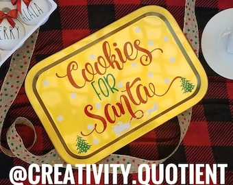 """Solid Tin """"Cookies for Santa"""" Tray"""