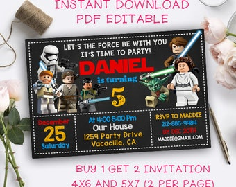 Star Wars Invitation Instant Downlaod, Star Wars Instant Download, Star Wars Invitation, Star Wars Birthday, Star Wars Party Printable
