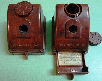 Vintage Inkwell Brown Plastic (Bakelite?) Inkwells