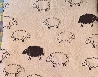 Free Motion Embroidered Sheep Cushion Cover