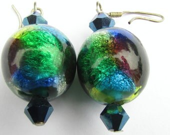 Art Deco Venetian Rainbow Foil Large Glass Beads Earrings