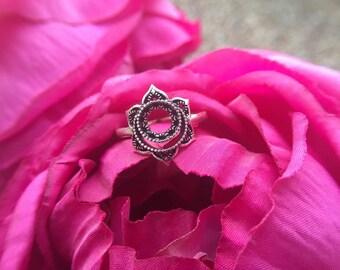 chakra silver jewelry bohemian handmade ring statement ring yoga jewelry healing creativity