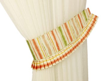 Cotton curtain tiebacks, Striped tie back orange, Kids decor, Drapery tiebacks, Home decor, Curtain decor, Drapery ties, Window decor