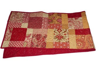 Red French Country Quilted Table Runner