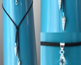 Silver Crystal leather Choker