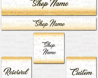 Etsy Store Banner Gold stars, Store Graphics, Etsy Shop Banner, Avatar, Graphic Design, Shop Icon, Gold Stars Set, Reserved, Custom