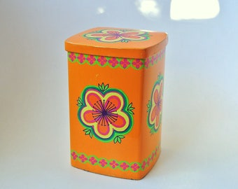 Ira Denmark Anita Wangel orange vintage tin container - psychedelic flower power seventies colorful - 70's - retro