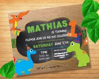 Dino Party Invitación Digital Dinosaurio