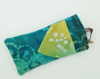 Turquoise Batik Eyeglass Case with Lime Green