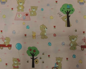 Fabric by Riley Blake designs pink background bears patchwork cotton