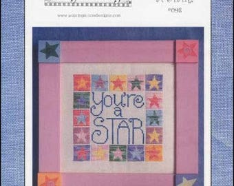 """WAXING MOON DESIGNS """"You're A Star"""" - Cross Stitch Pattern To Tell Someone They Are Special, Star Border - Used Pattern"""