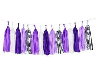 Purple Tassel Garland, Tassels, Ultra Violet Decorations, Party Tassels, Balloon Tassels, Unicorn Hanging Decor, Paper Tassels, Lilac Party