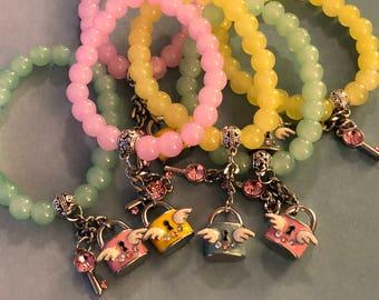 Six glass beaded bracelets