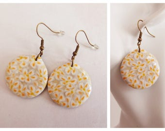 Pièce unique Boucles d'oreilles collection tableau : Fleurs de tiaré Tahiti earrings flowers of tiare
