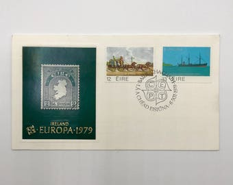 Ireland | Bianconi Long Car | Transatlantic Cable | 1 Vintage 1979 Europa History of the Post First Day of Issue Envelope with 3 Stamps