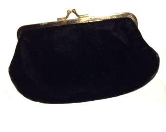 Small black velvet purse