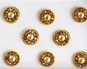 8 Antique Gold Round Bindis ,Bridal Gold Bindis,Stone Bindis,Gold Face Jewels Bindis,India Bindis,Bollywood Bindis,Fake Belly Button Sticker