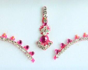 Forehead Pink Bindi Stickers,Wedding Long Bindis,Bridal Pink Bindis,India Bindi,Bollywood Bindi, Long pink Bindis, Self Adhesive Stickers