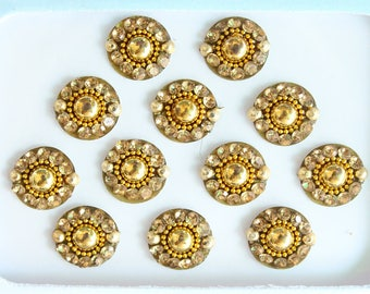 Gold/Silver Round Wedding Face Jewels,Bridal Bindis Stickers,Bindis,Gold Round Bindi Packet,Indian Bollywood Bindi Design,Fake Belly Button