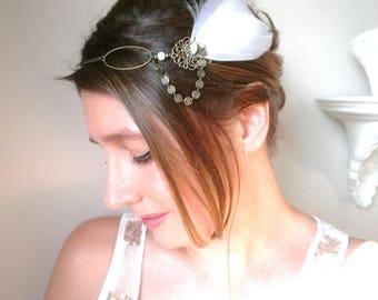 Headband feathers wedding, retro, romantic, white feathers, set in white Swarovski Crystal