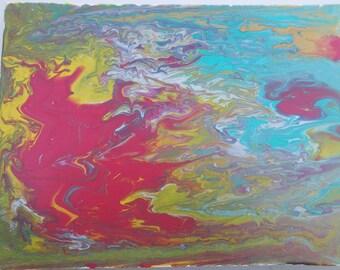 "Phoenix Fluid Painting Acrylic on Canvas 9""x 12"""