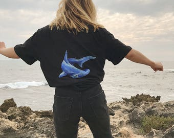 Hammerhead shark handpainted shirt